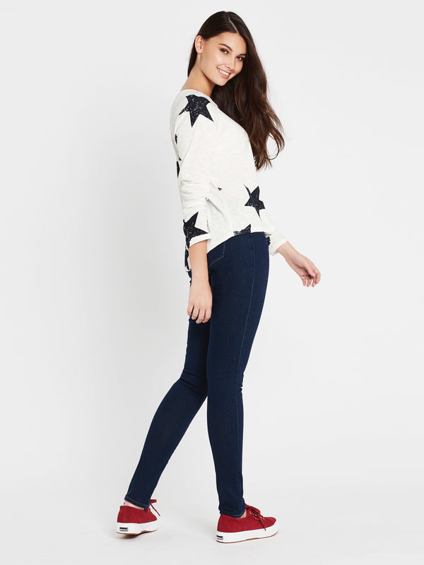 Yvette Long Sleeve T-Shirt Winter White Large Star - Mavi Jeans