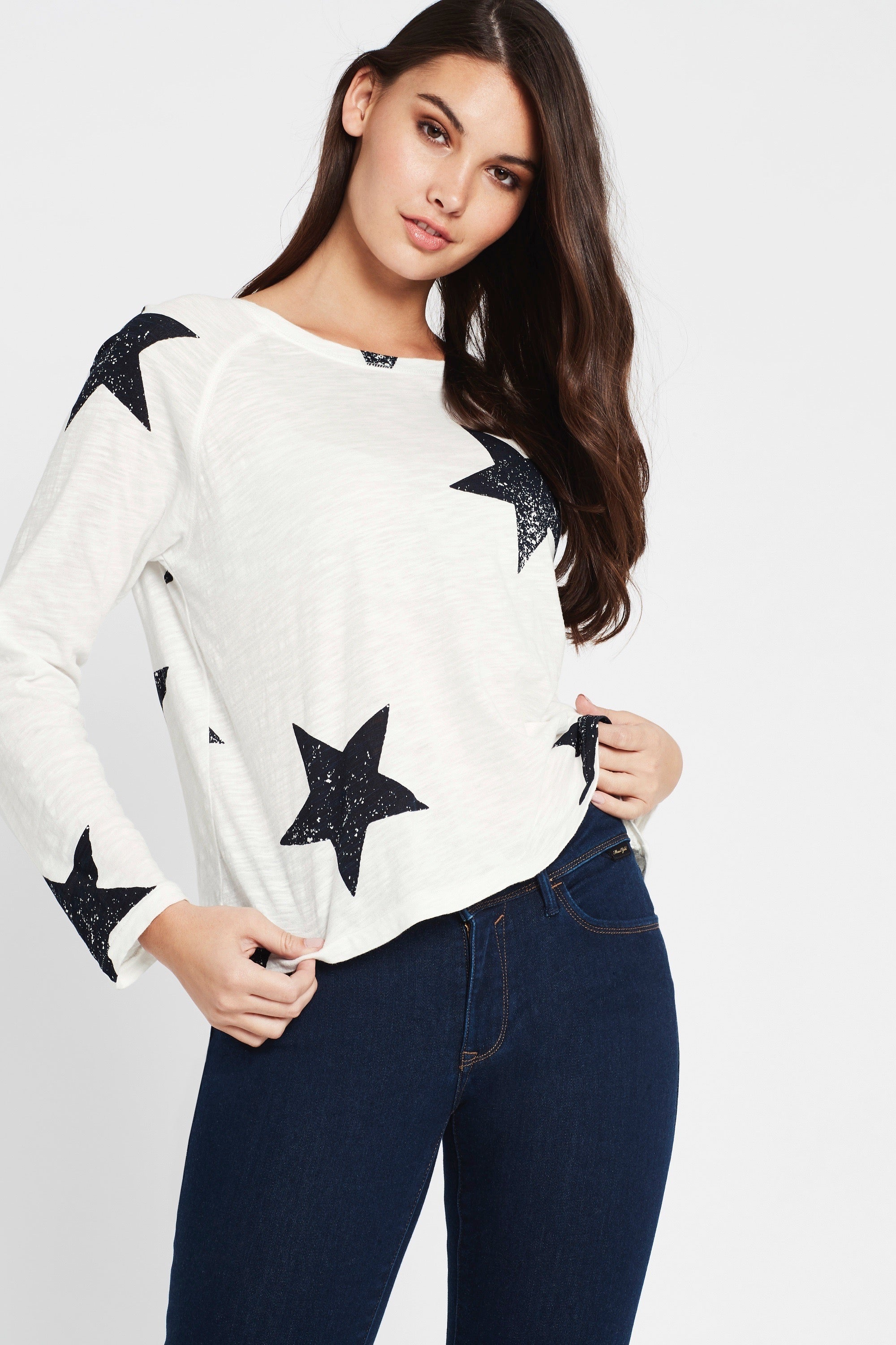 Yvette Long Sleeve T-Shirt Winter White Large Star