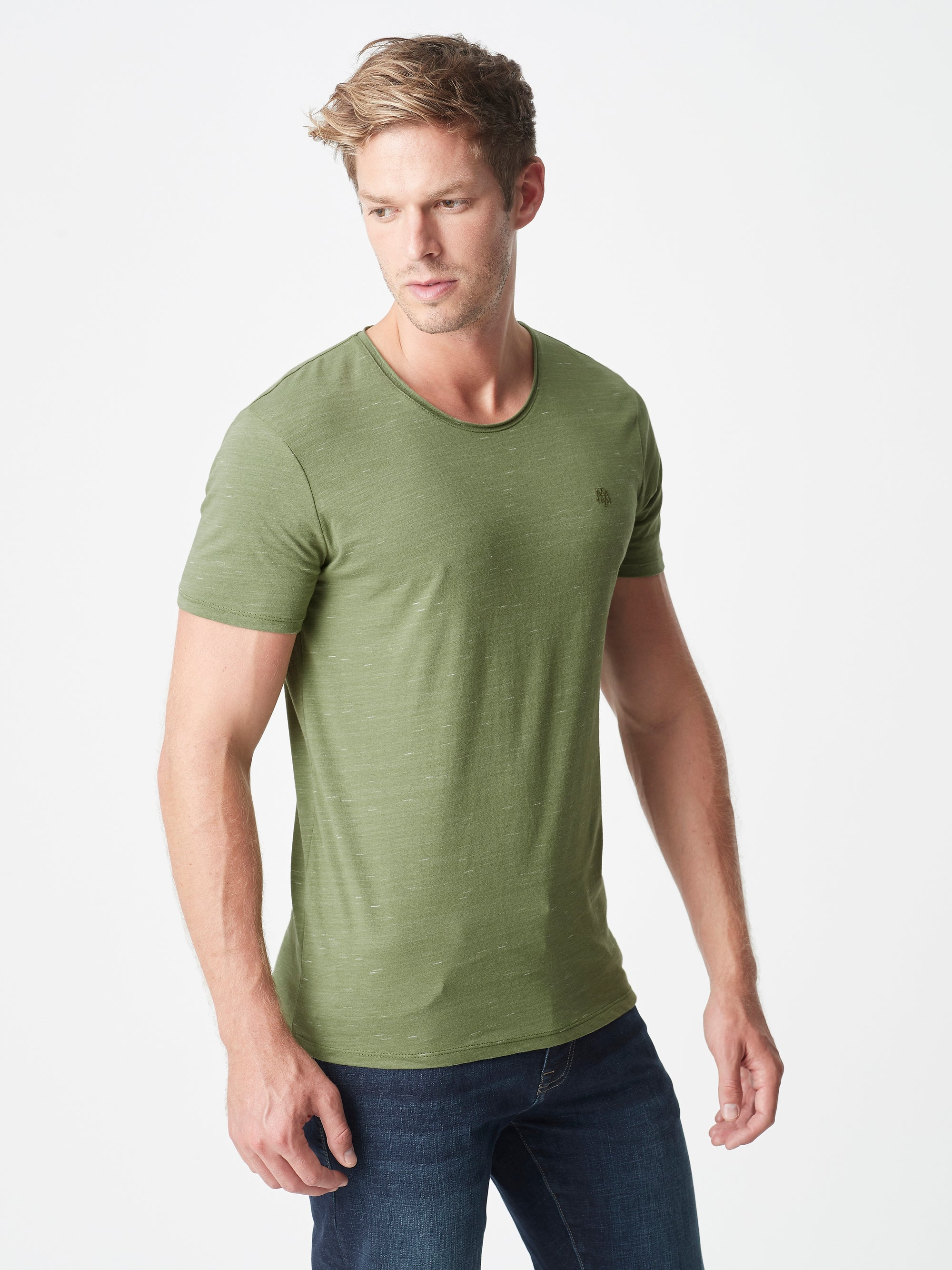 Mens Casual Crew Neck T-Shirt in Olive