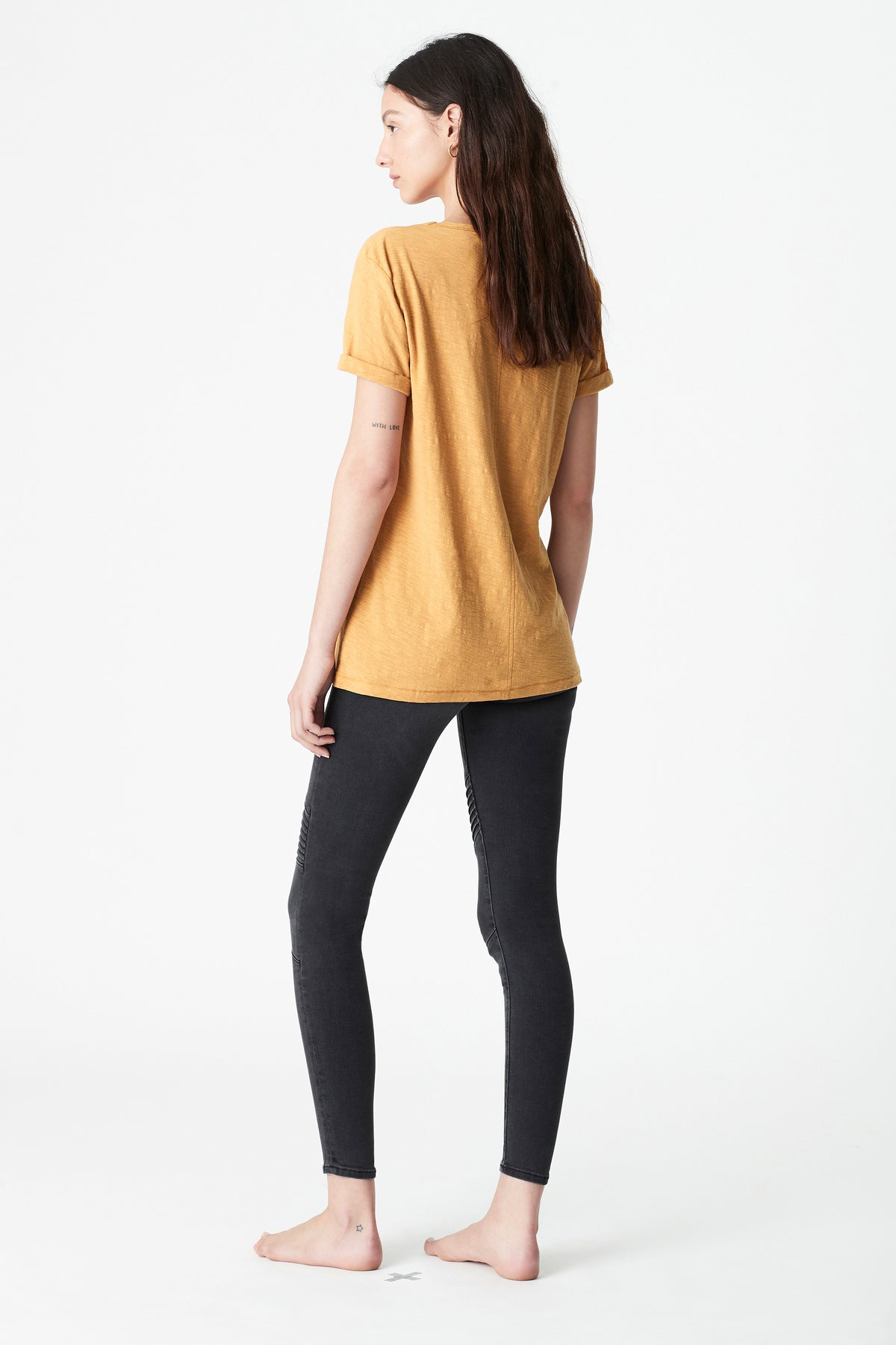 Evie Rolled Sleeve T-Shirt in Marigold