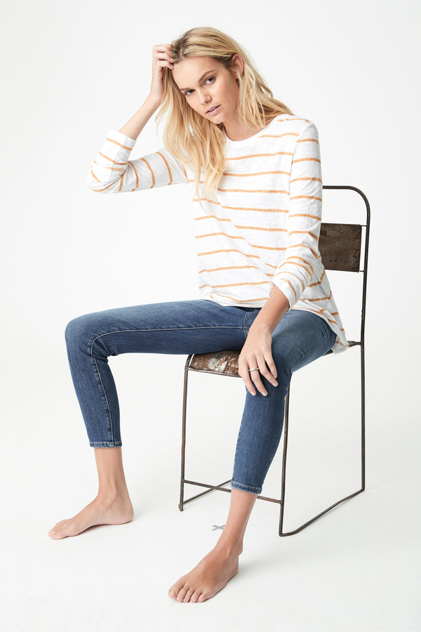 Gayle High-Low Hem T-Shirt in Marigold Stripe - Mavi Jeans