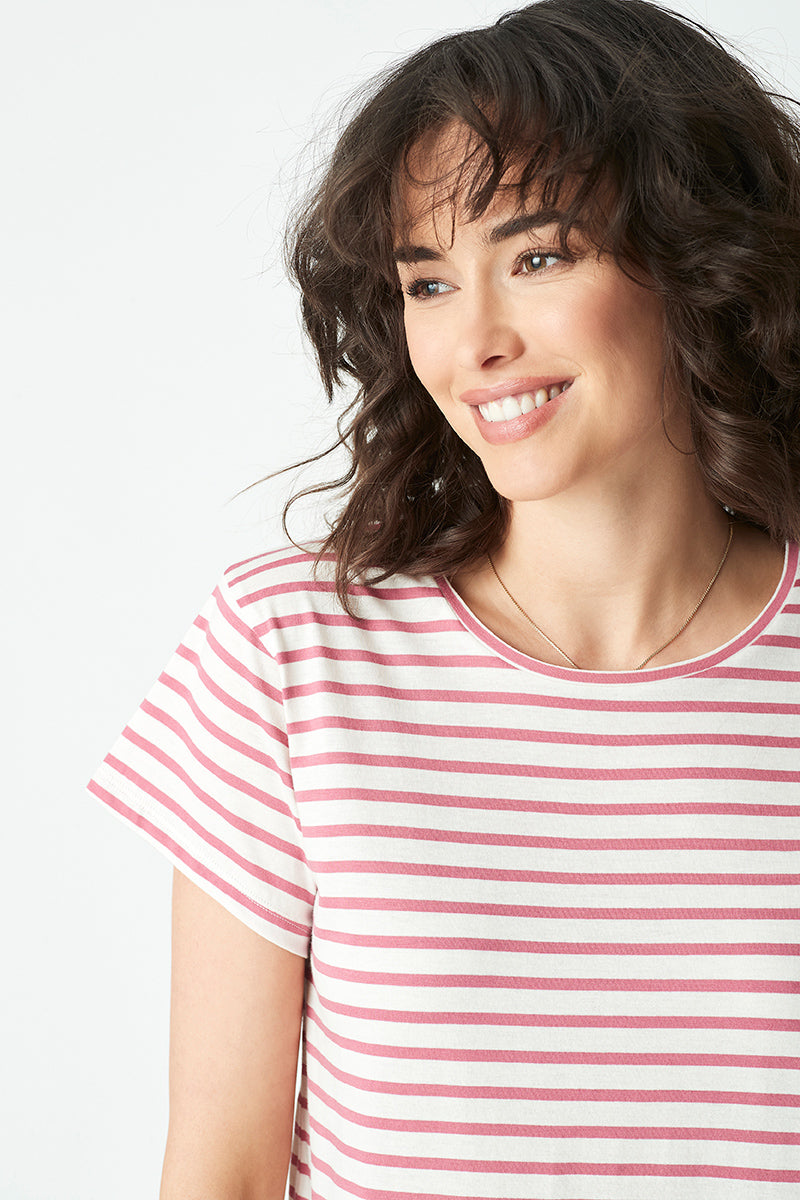 Alfie Striped T-Shirt in Smokey Crimson White Stripe