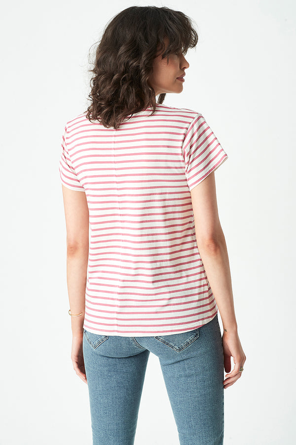 Alfie Striped T-Shirt in Smokey Crimson White Stripe - Mavi Jeans