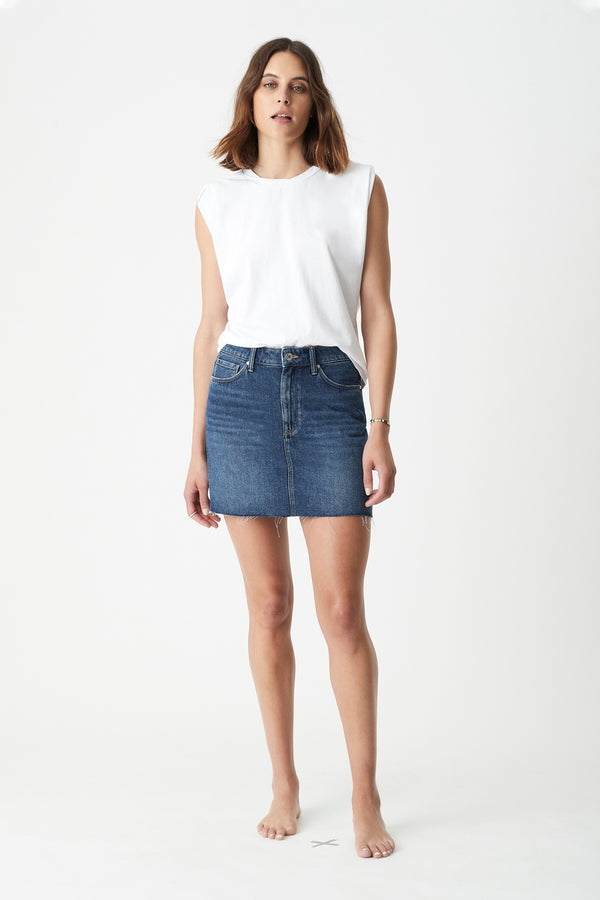 Lindsay High Rise Denim Mini Skirt in Deep 90's - Mavi Jeans