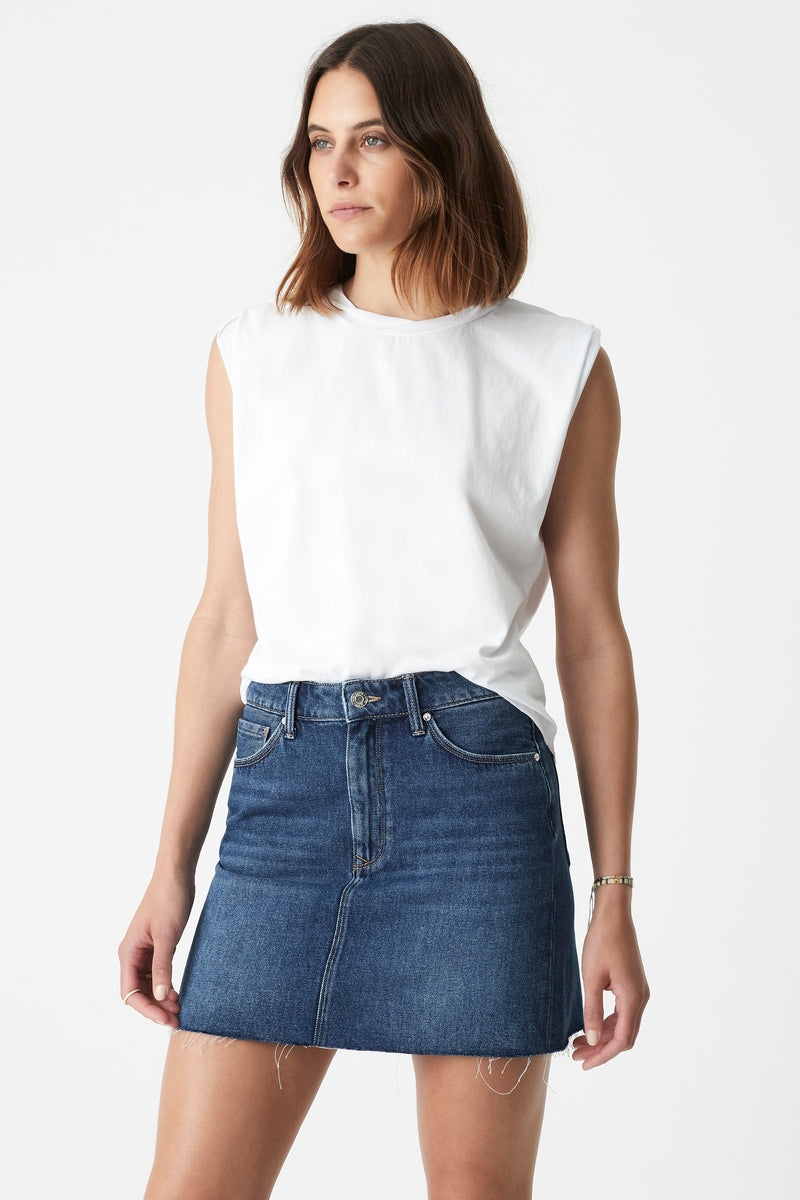 Lindsay High Rise Denim Mini Skirt in Deep 90's