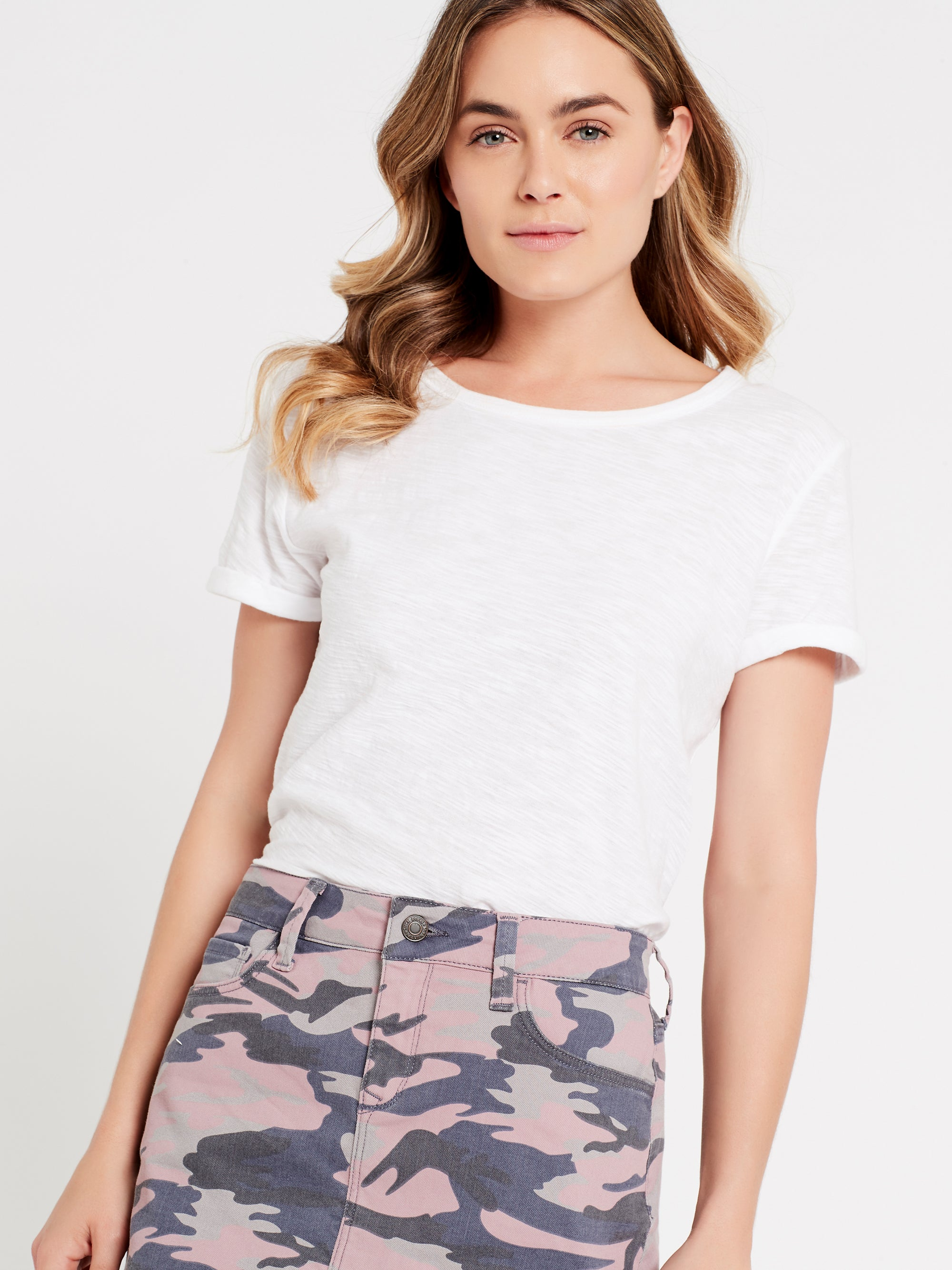 Alice A Line Denim Skirt in Pink Camo