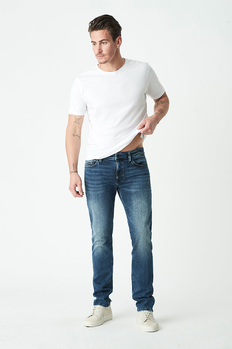 Marcus Slim Straight Jeans in Dark Brushed Williamsburg
