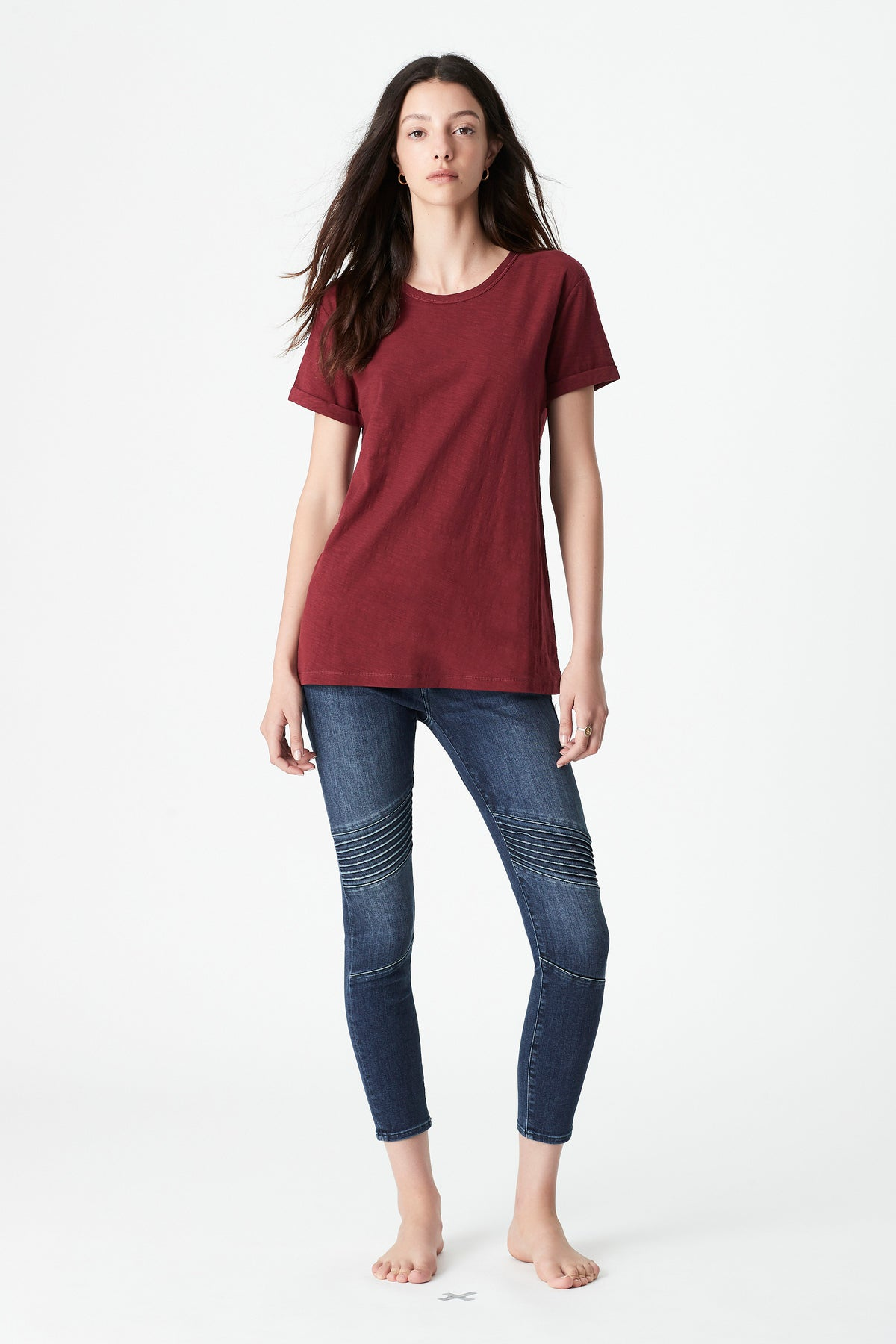 Evie Rolled Sleeve T-Shirt in Mulberry