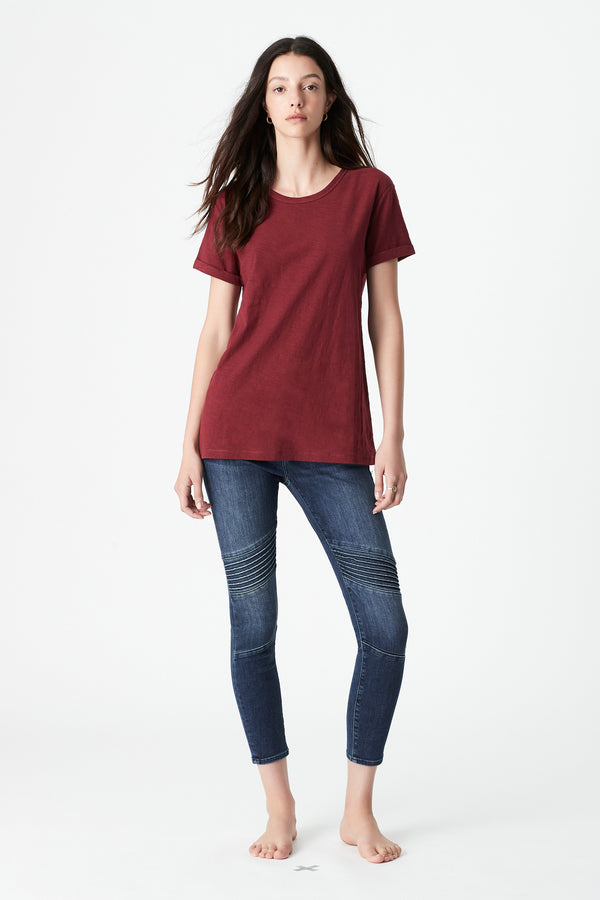 Evie Rolled Sleeve T-Shirt in Mulberry - Mavi Jeans
