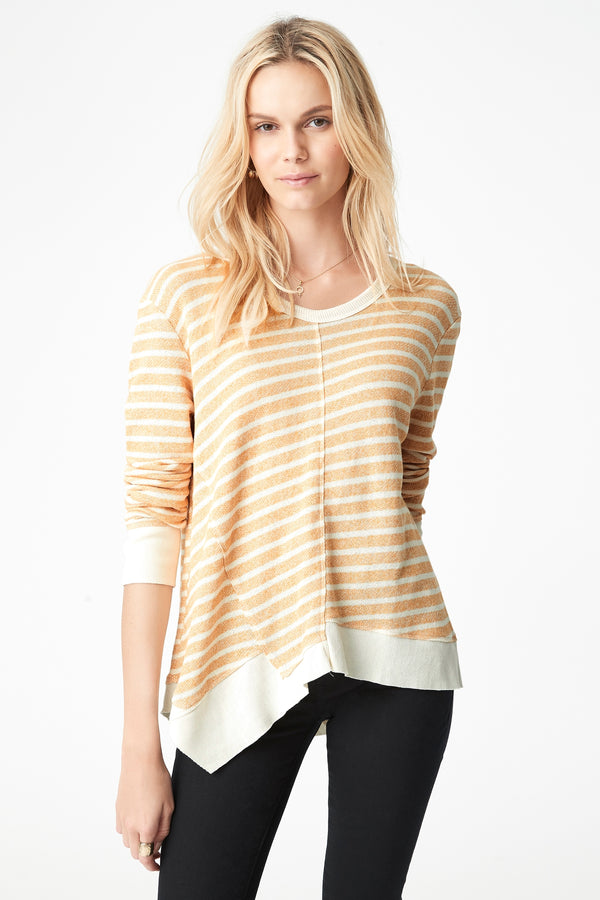 Justine Asymmetric Hem Sweat in Marigold Stripe - Mavi Jeans