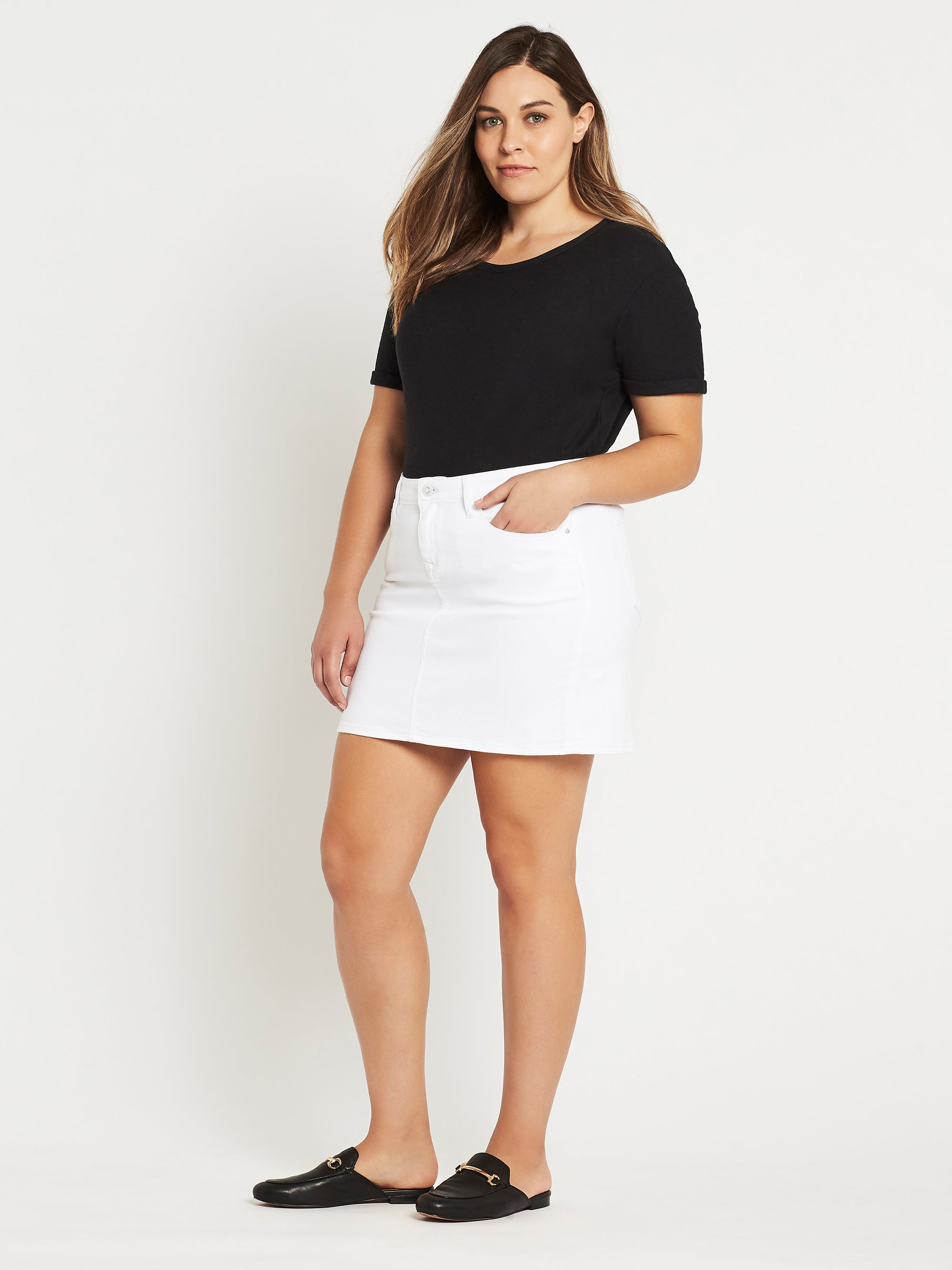 Alice A Line Curve Denim Skirt in White Stretch