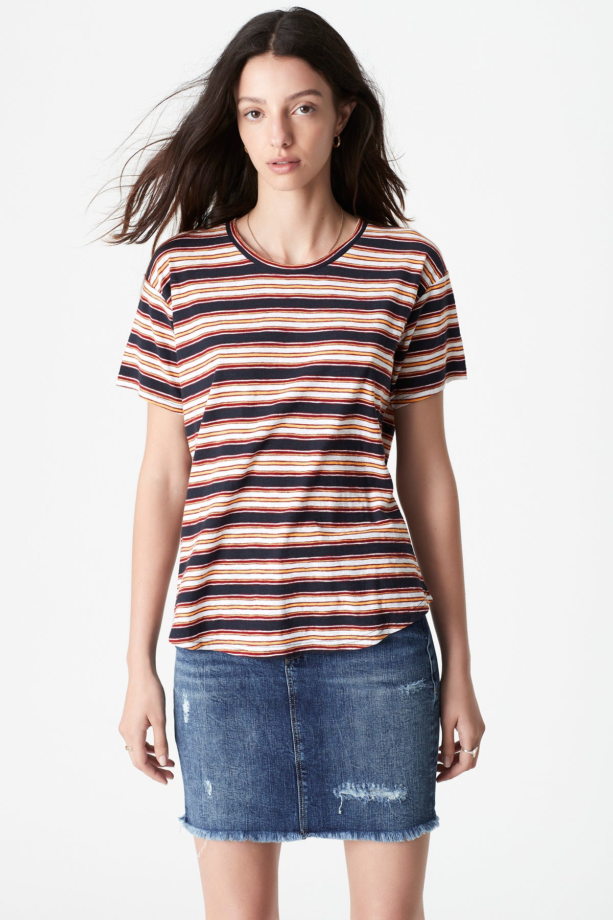Becky Curved Hem T-Shirt in Mulberry Stripe