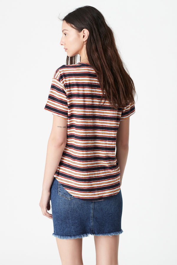 Becky Curved Hem T-Shirt in Mulberry Stripe - Mavi Jeans