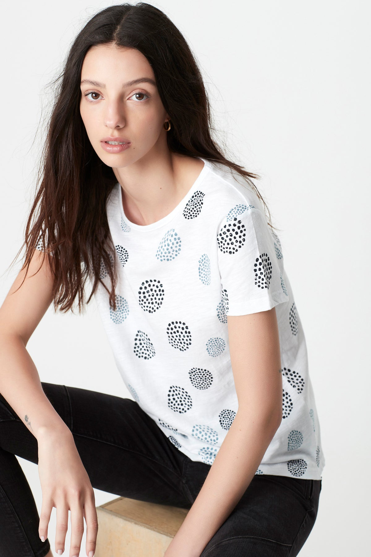 Romy Printed T-Shirt in White Spot