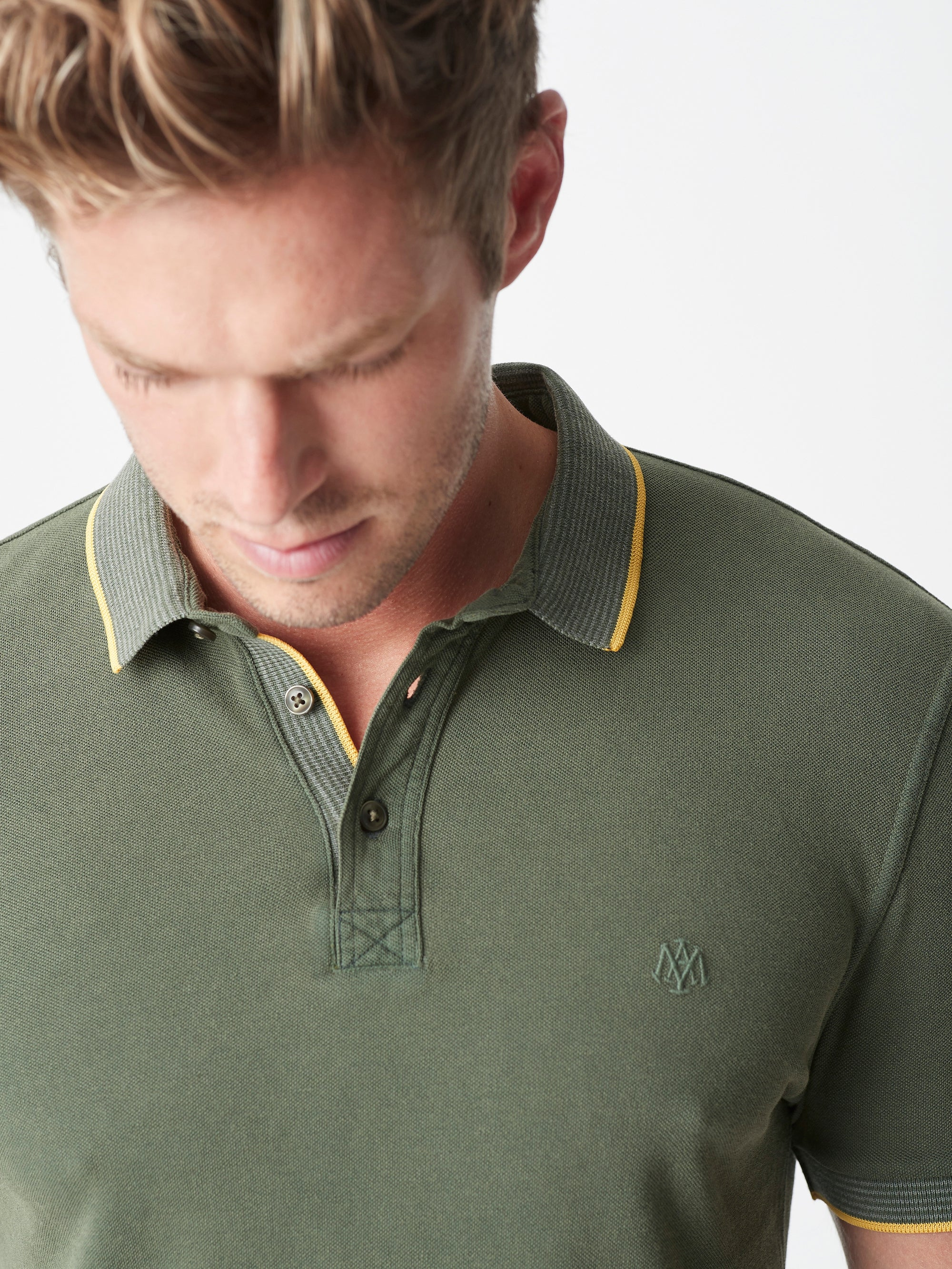 Mens Short Sleeve Polo Shirt in Olive