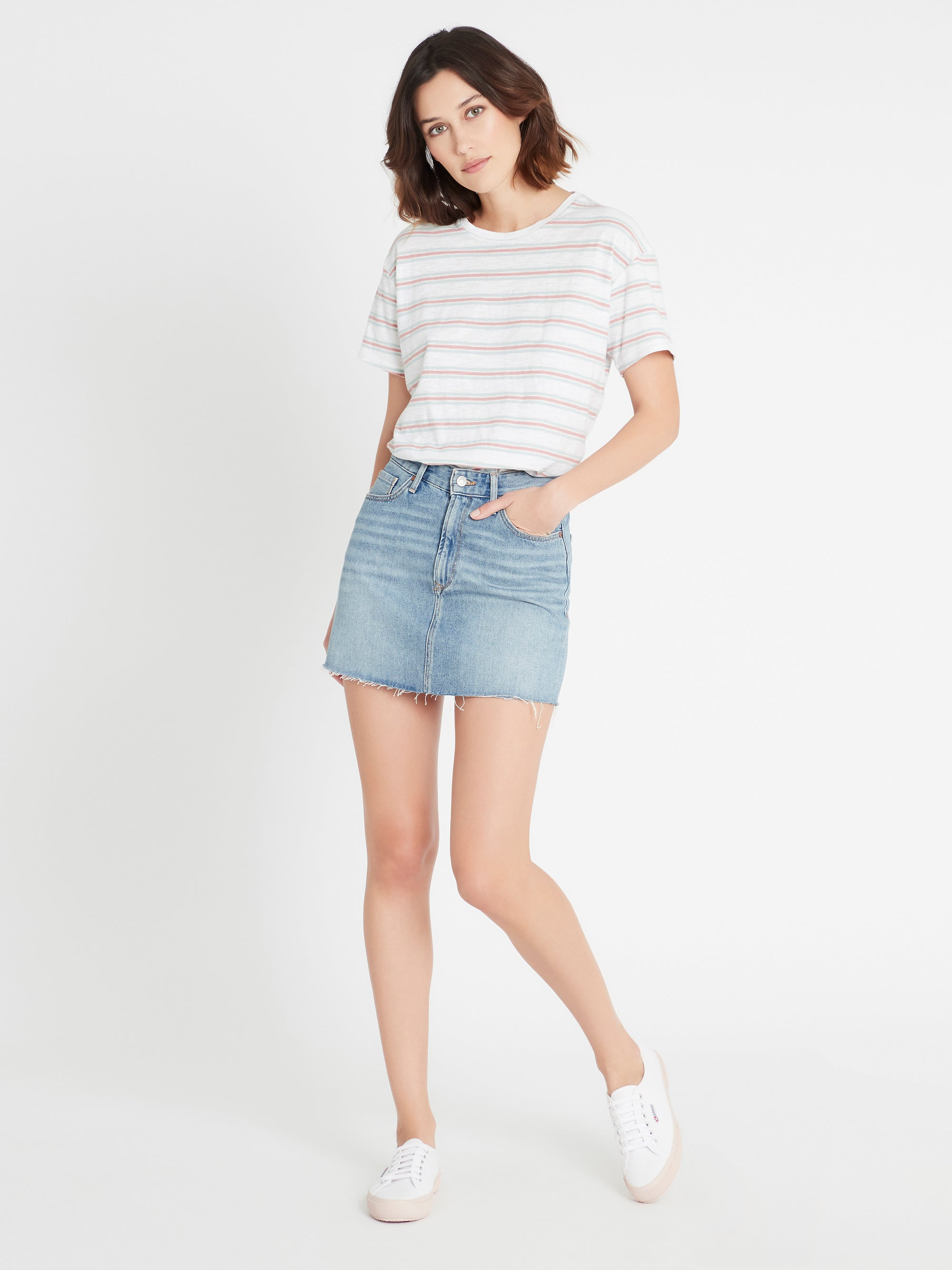 Lindsay High Rise Denim Mini Skirt in Shaded Indigo Denim
