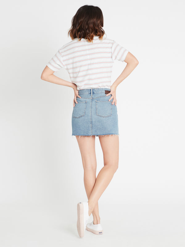 Lindsay High Rise Denim Mini Skirt in Shaded Indigo Denim - Mavi Jeans