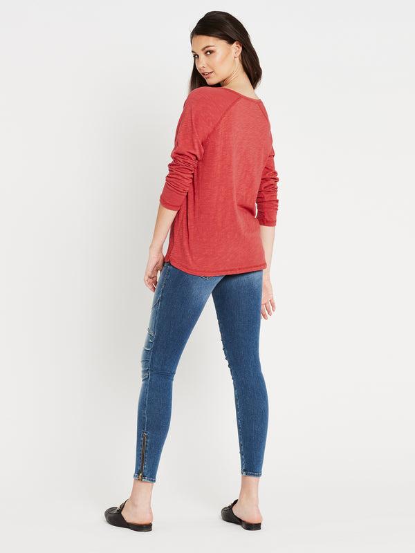 Leah Long Sleeve T-Shirt in Tomato - Mavi Jeans