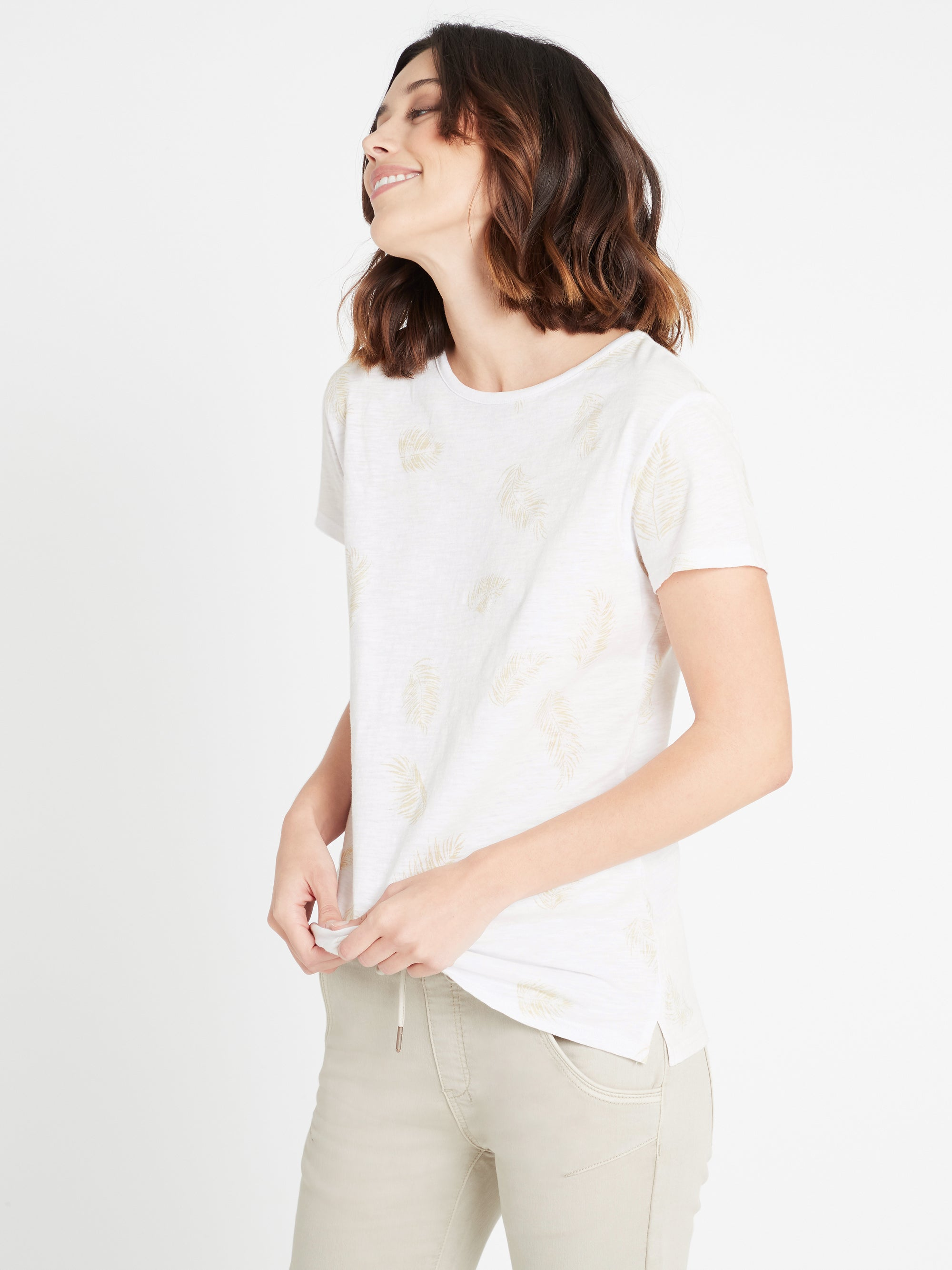 Romy Printed T-Shirt in White Palm