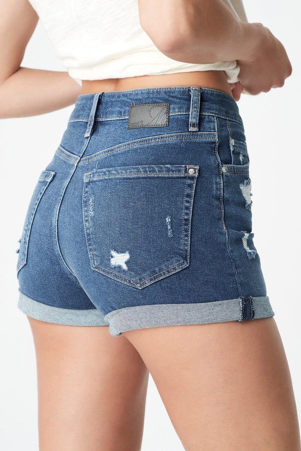 Sara High Rise Short in Indigo Ripped 90's Stretch - Mavi Jeans