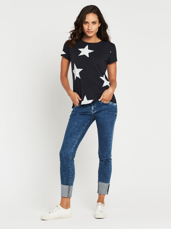 ROMY Short Sleeve T-Shirt in Midnight Winter White Large Star - Mavi Jeans