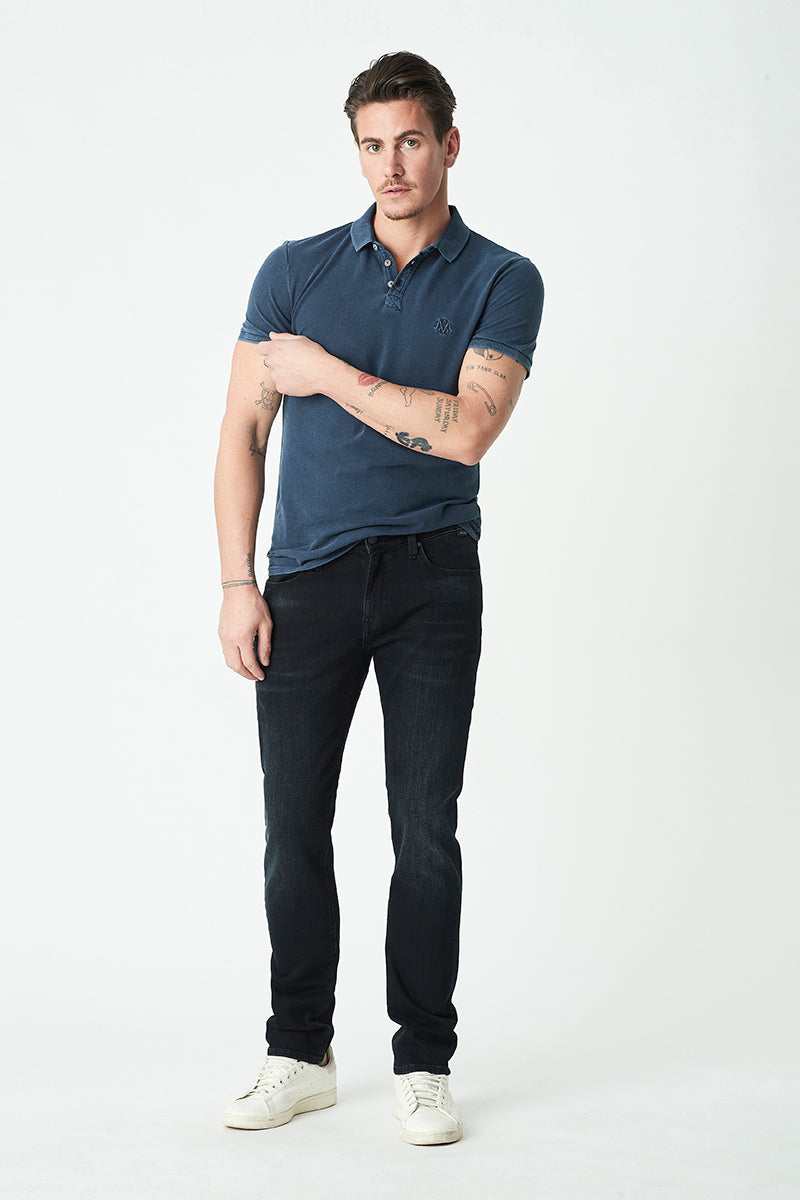 Marcus Slim Straight Jeans in Ink Brushed Mavi