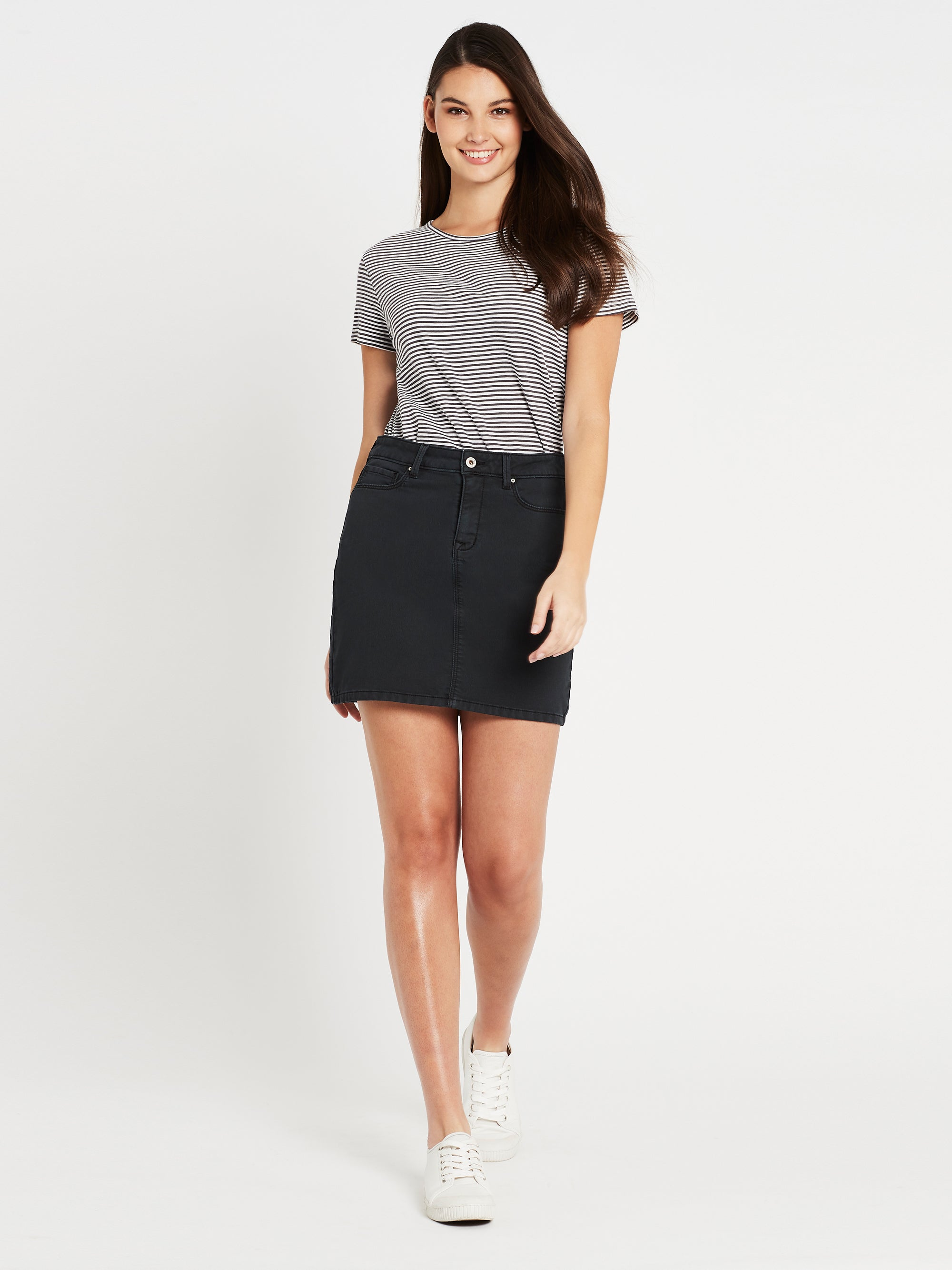 Alice A Line Skirt in Smoke Washed Sporty