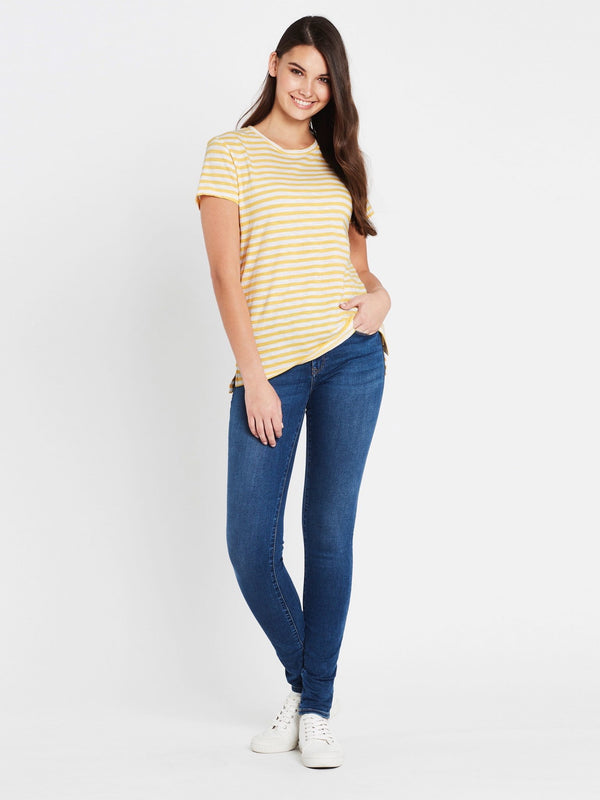 Hailey Short Sleeve T-Shirt Gold White Stripe - Mavi Jeans