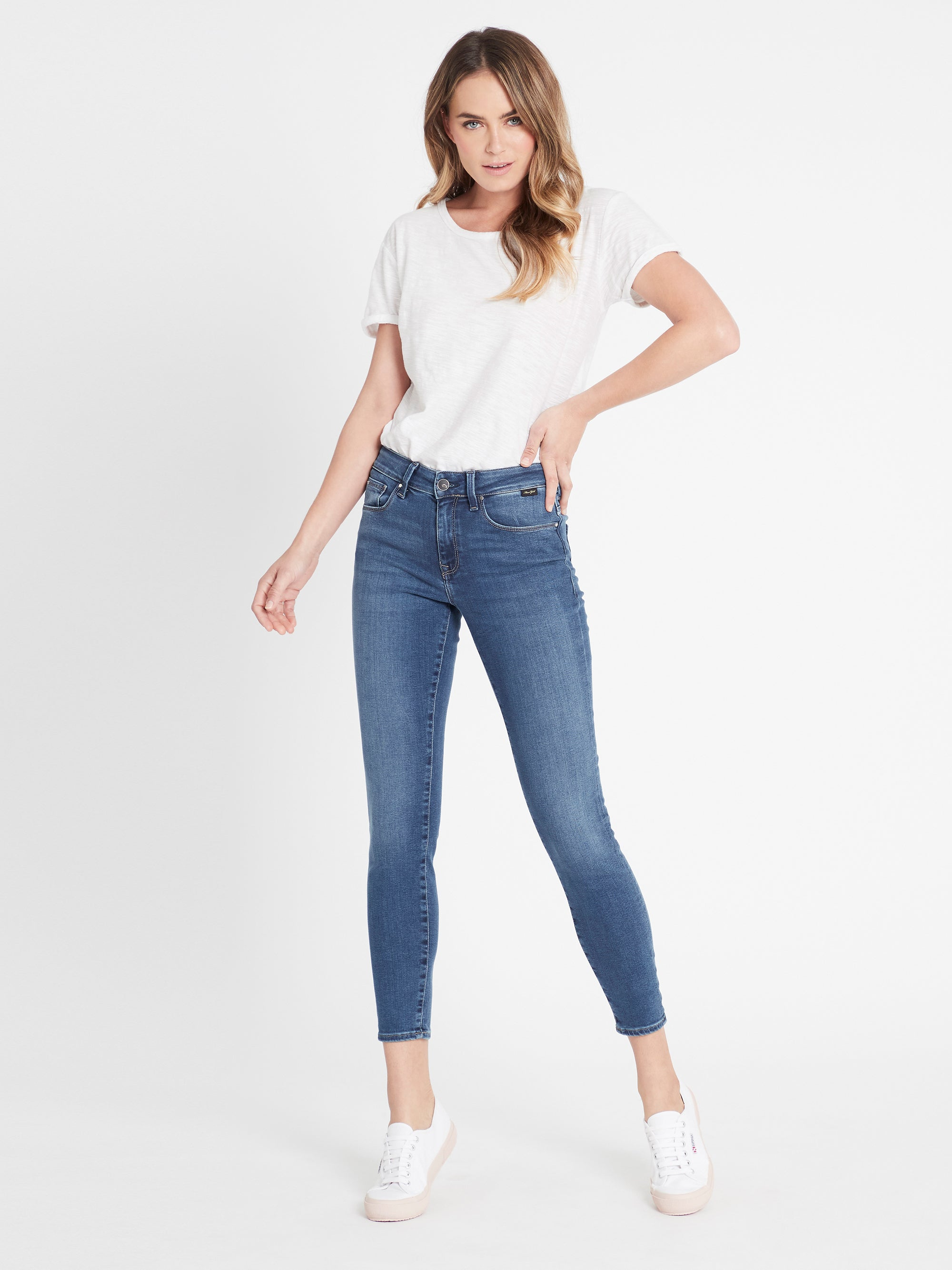 Alissa Ankle Skinny Jeans in Light Indigo Gold