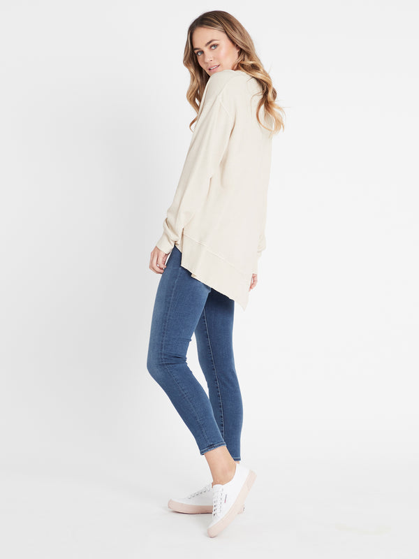 Dylan High-Low Hem Sweat in Stone - Mavi Jeans