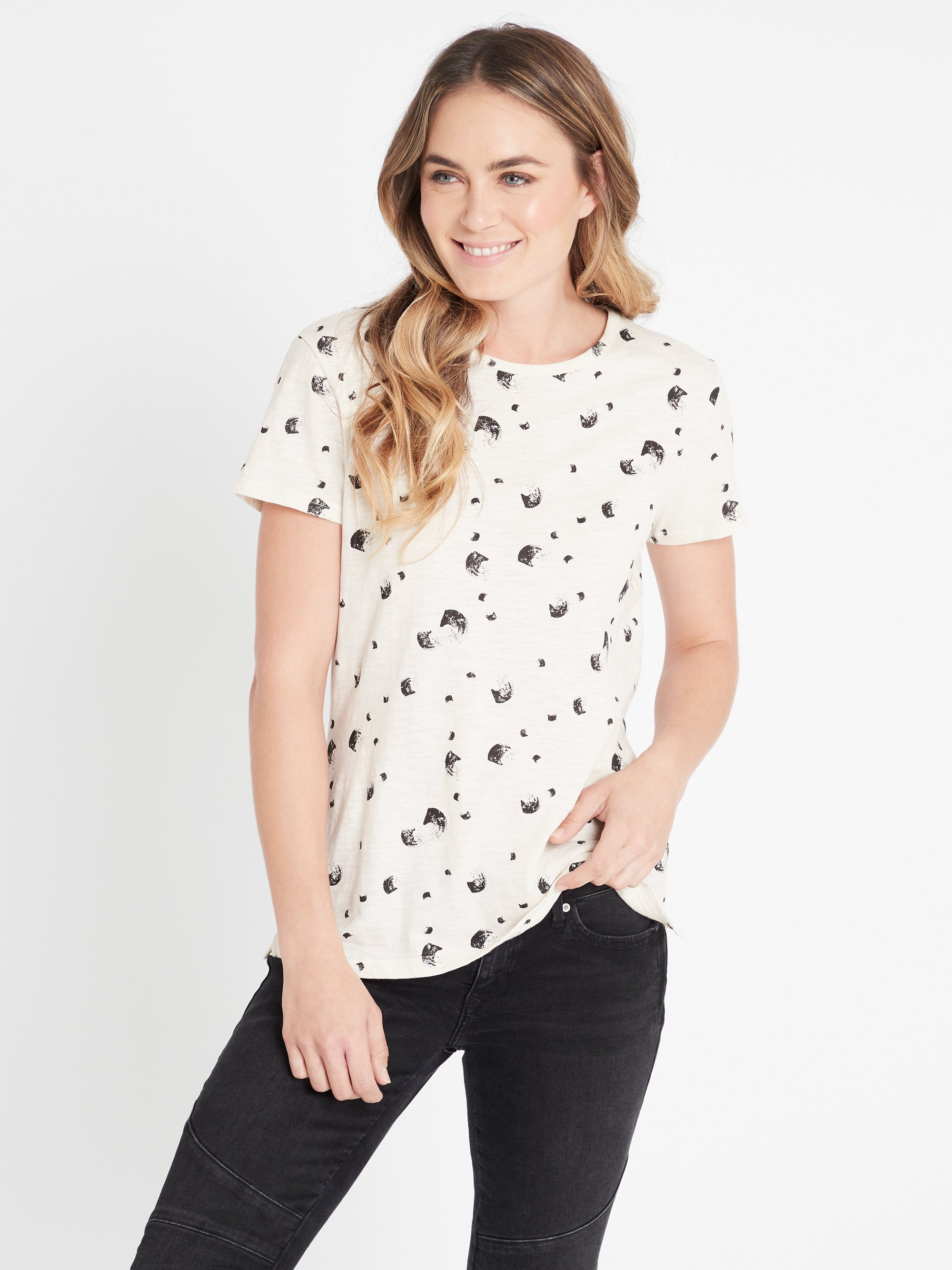 Romy Printed T-Shirt in Stone Swish