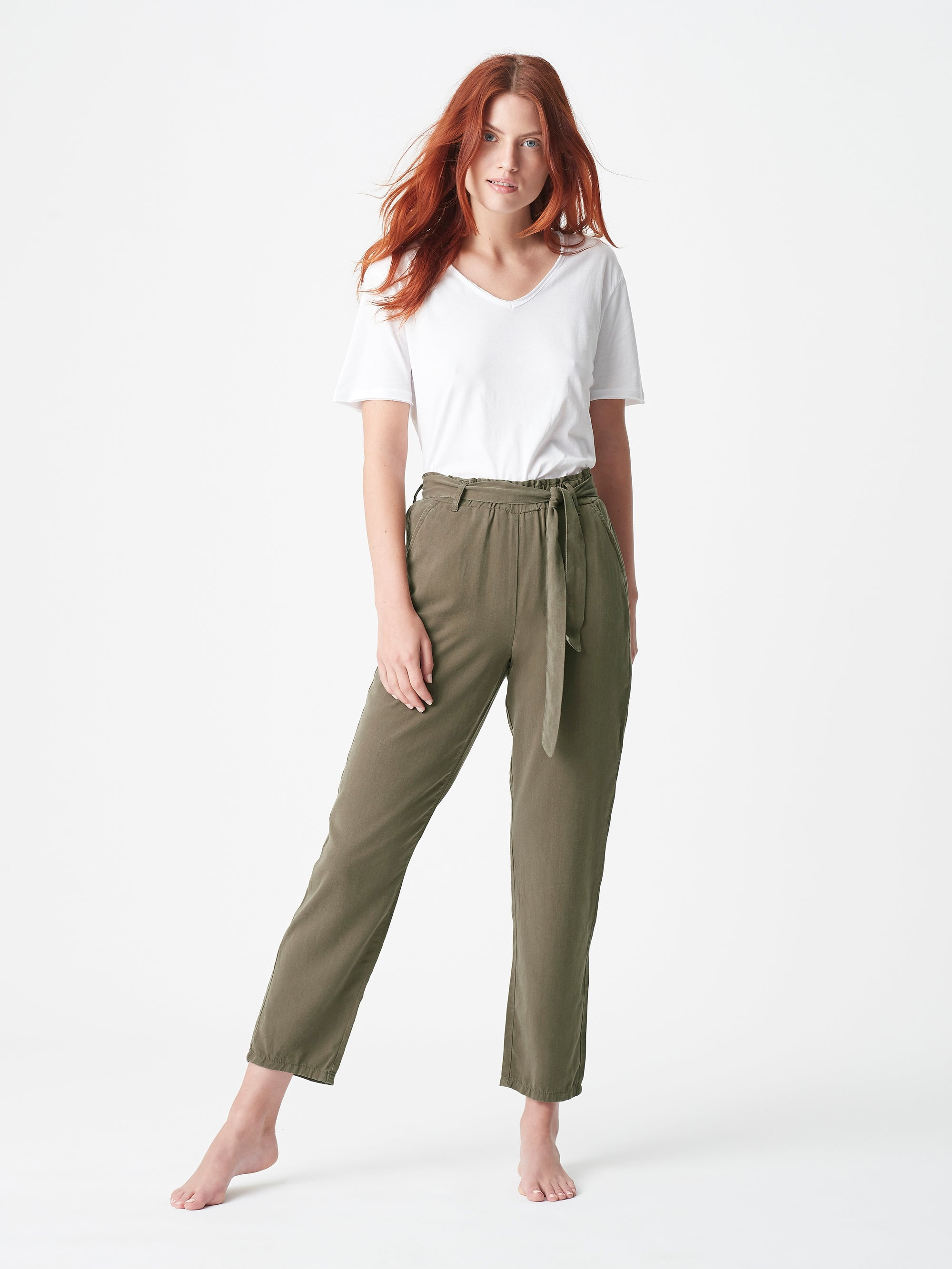 Womens High Rise Pants in Olive