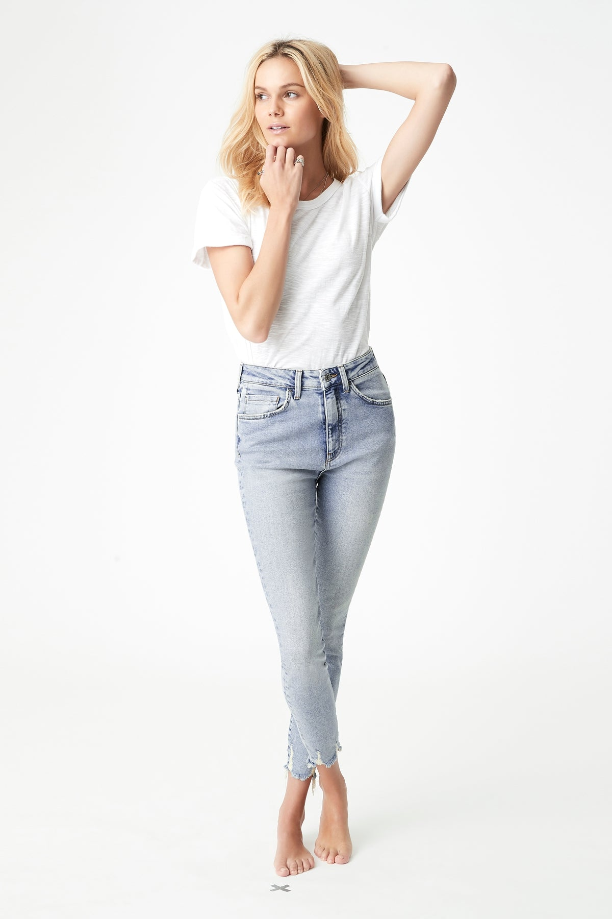 Scarlett Skinny Jean in Light Random 90's Stretch