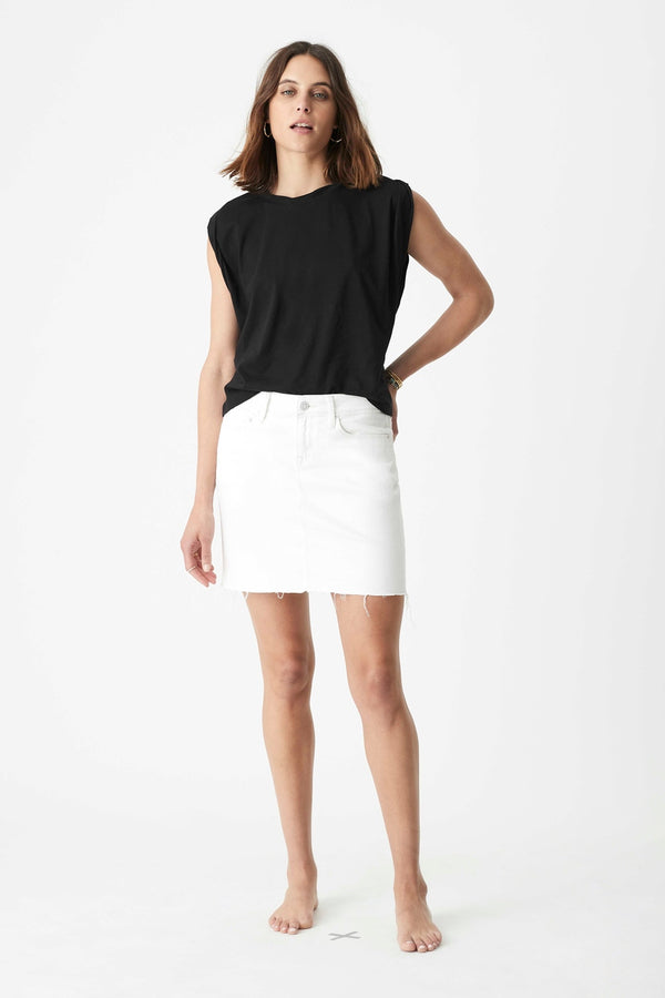 Lindsay High Rise Denim Mini Skirt in White Vintage - Mavi Jeans