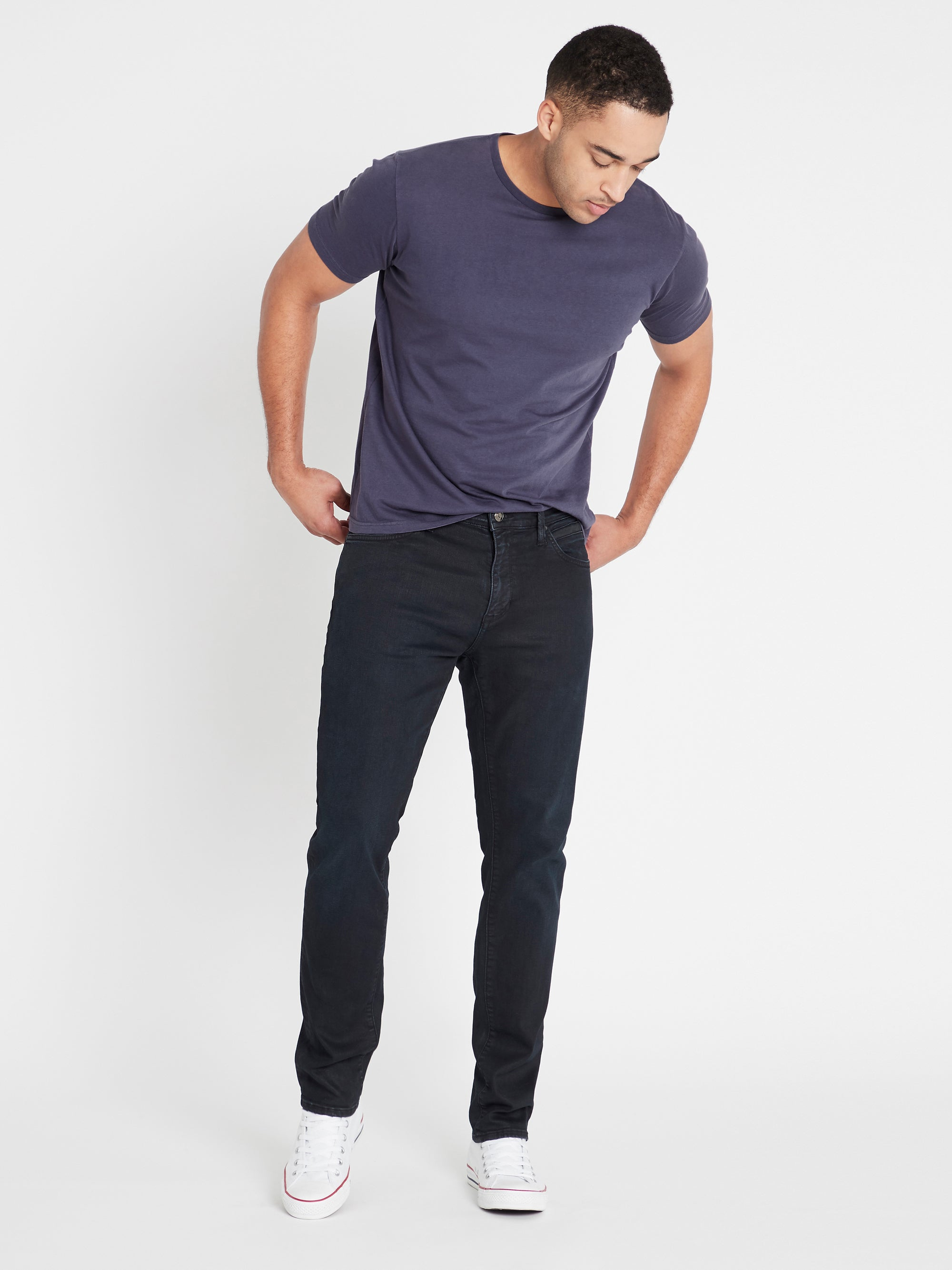 Yves Skinny Jeans in Ink Coated Mavi Jet Black