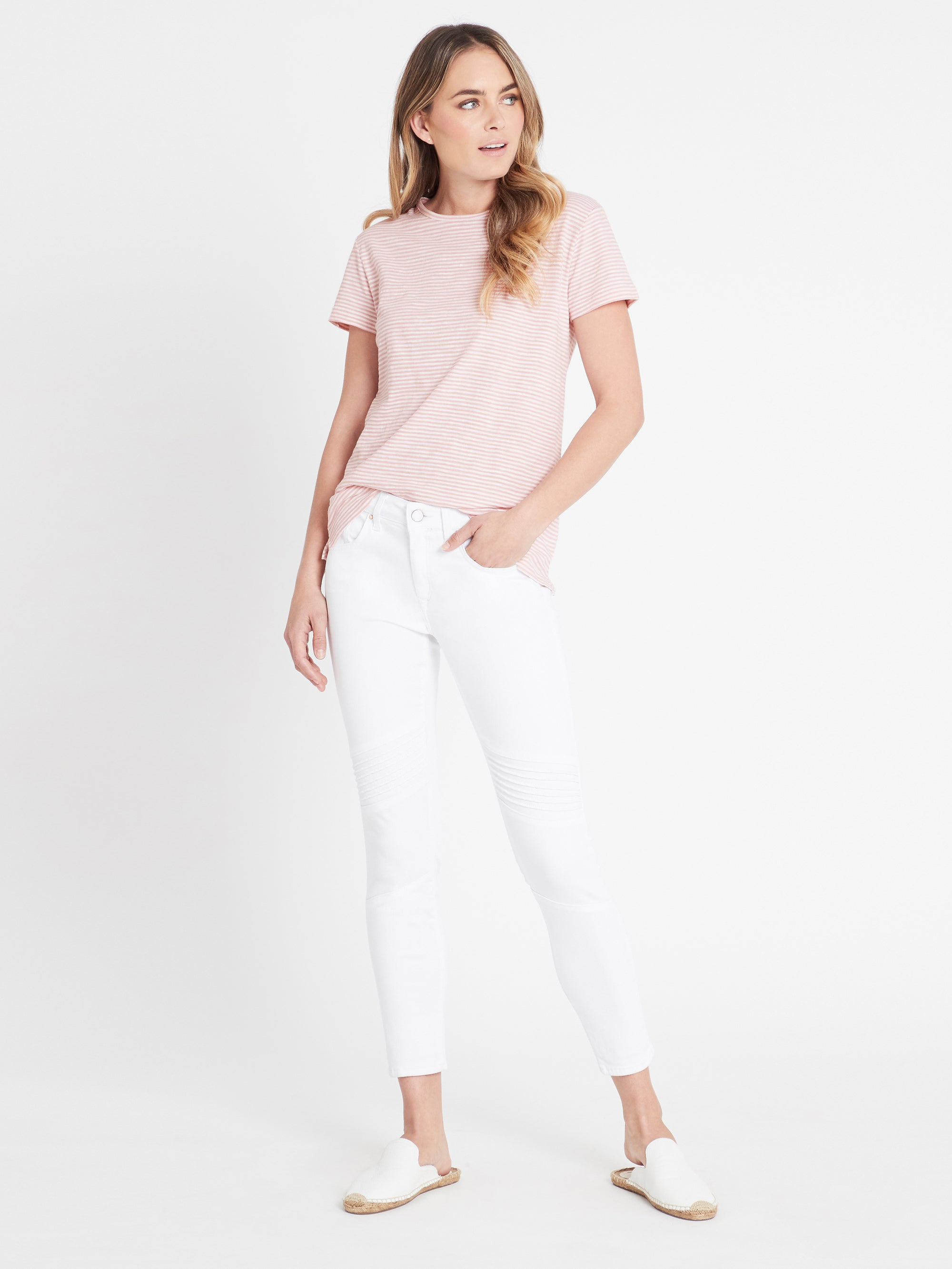 Aura Skinny Ankle Biker Jeans in White Gold