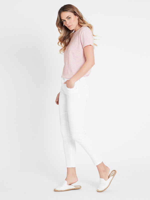 Aura Super Skinny Ankle Biker in White Gold - Mavi Jeans