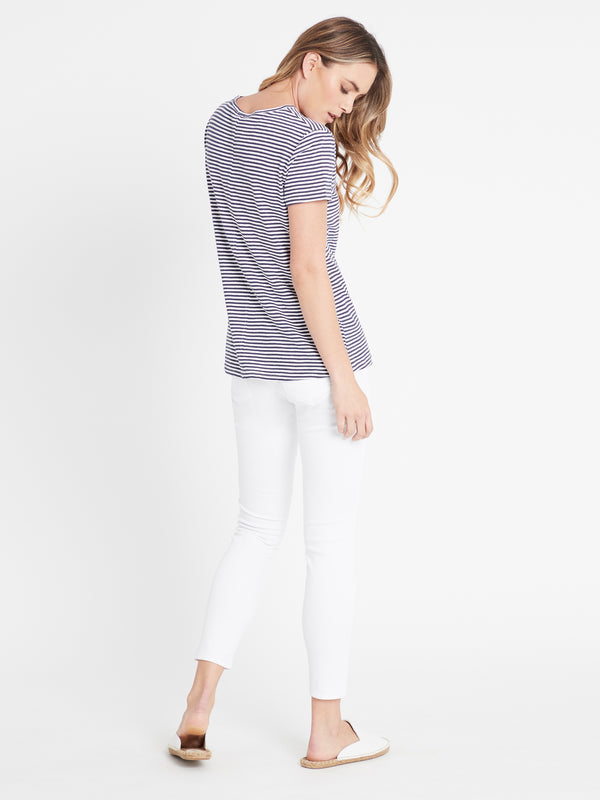 India Stripe T-Shirt in Vintage Blue White - Mavi Jeans