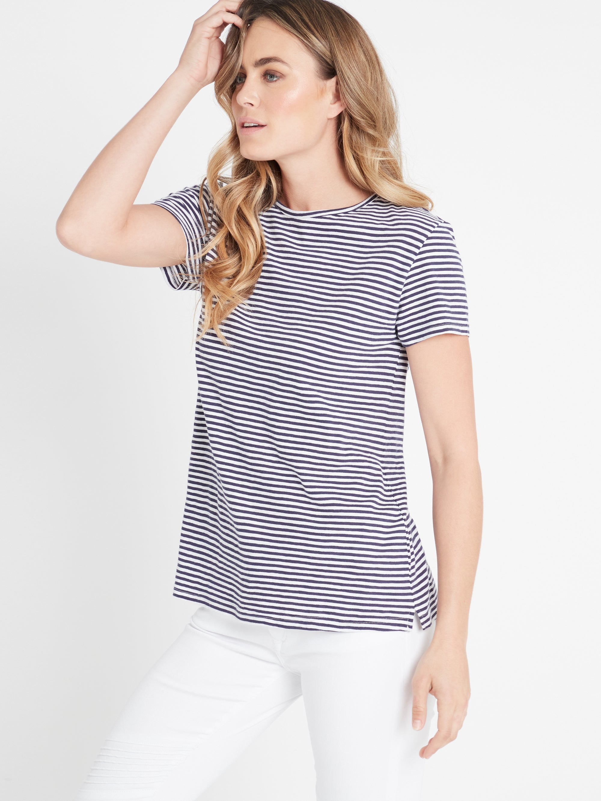 India Stripe T-Shirt in Vintage Blue White