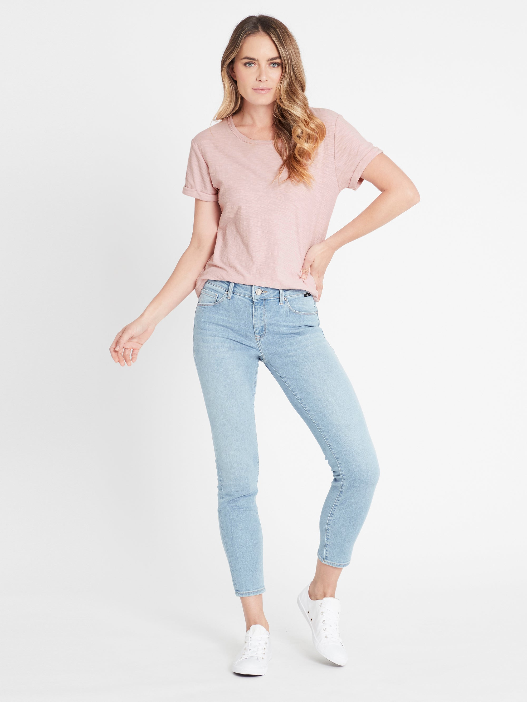 Alissa Ankle Skinny Curve Jeans in Light Blue 90's Stretch