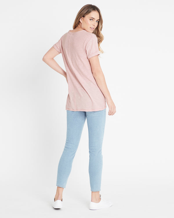 Evie Rolled Sleeve T-Shirt in Vintage Rose - Mavi Jeans
