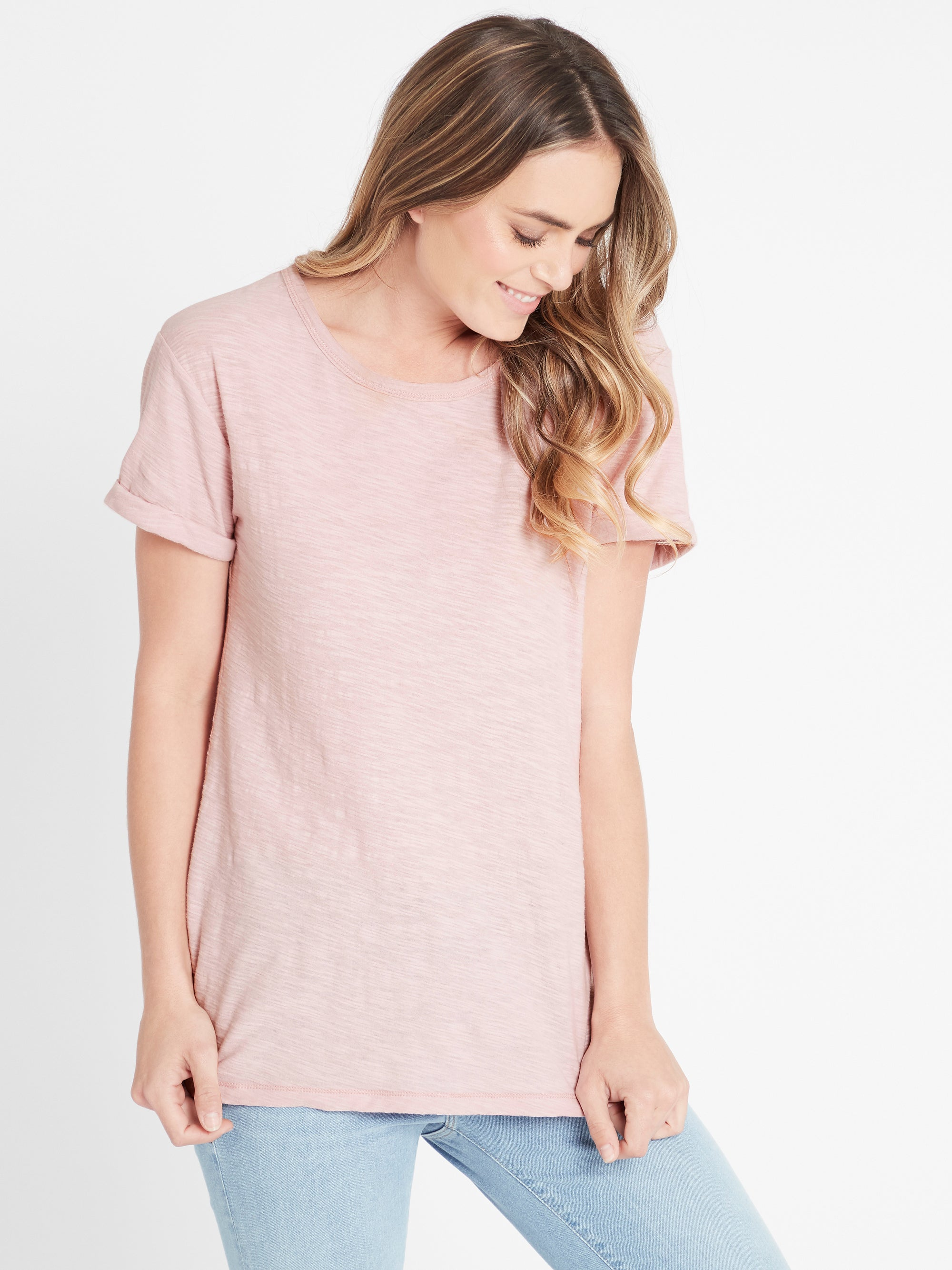 Evie Rolled Sleeve T-Shirt in Vintage Rose