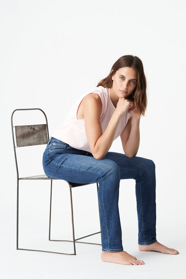 Kathleen Slim Boyfriend Jean in Mid Feather Blue - Mavi Jeans