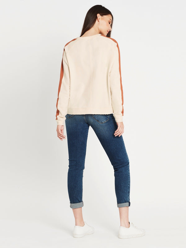 Aria Long Sleeve Sweat in Winter White Rust - Mavi Jeans