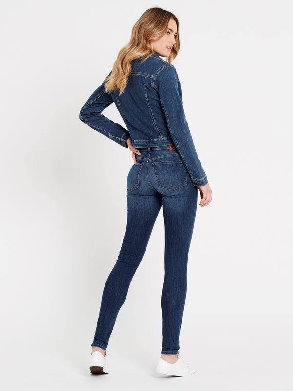 Daphne Crop Denim Jacket in Mid Shaded Stretch - Mavi Jeans
