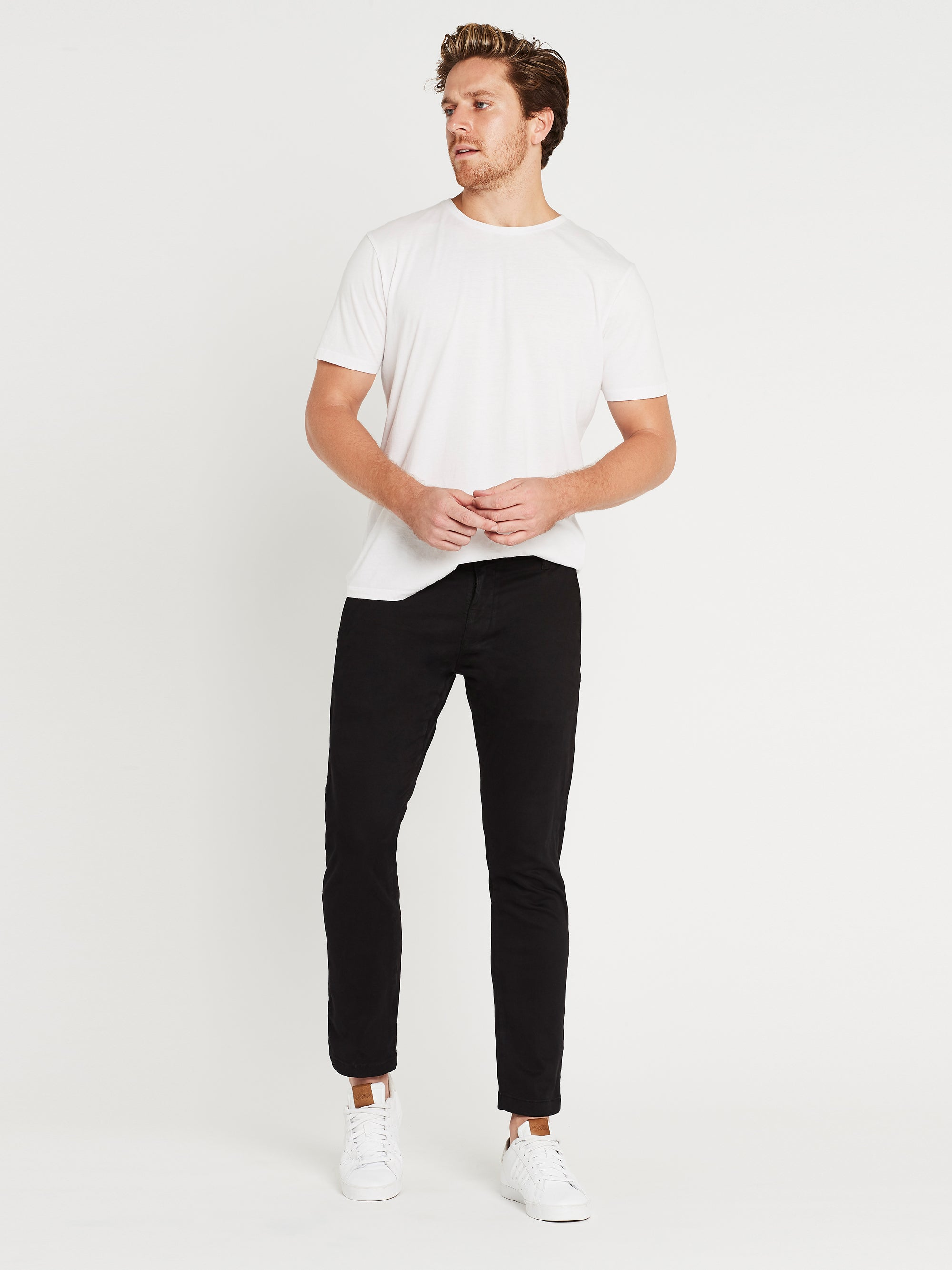 Johnny Slim Chinos Black Sateen Twill