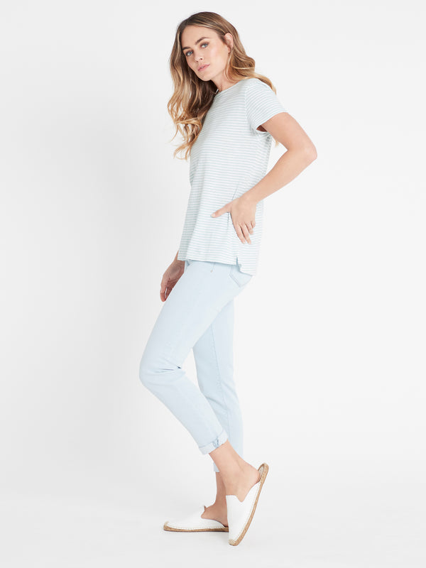 India Stripe T-Shirt in Seagrass White - Mavi Jeans
