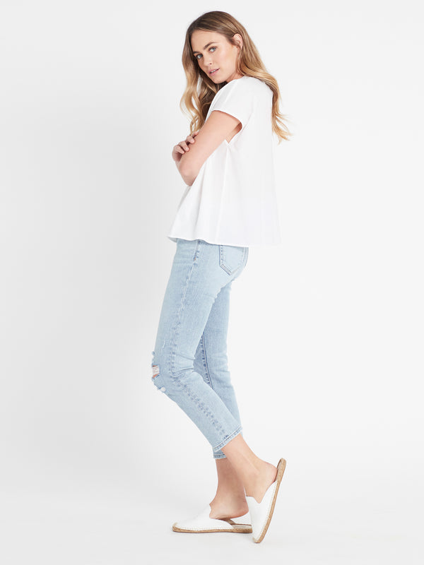 Sheridan Henley Swing Top in White - Mavi Jeans