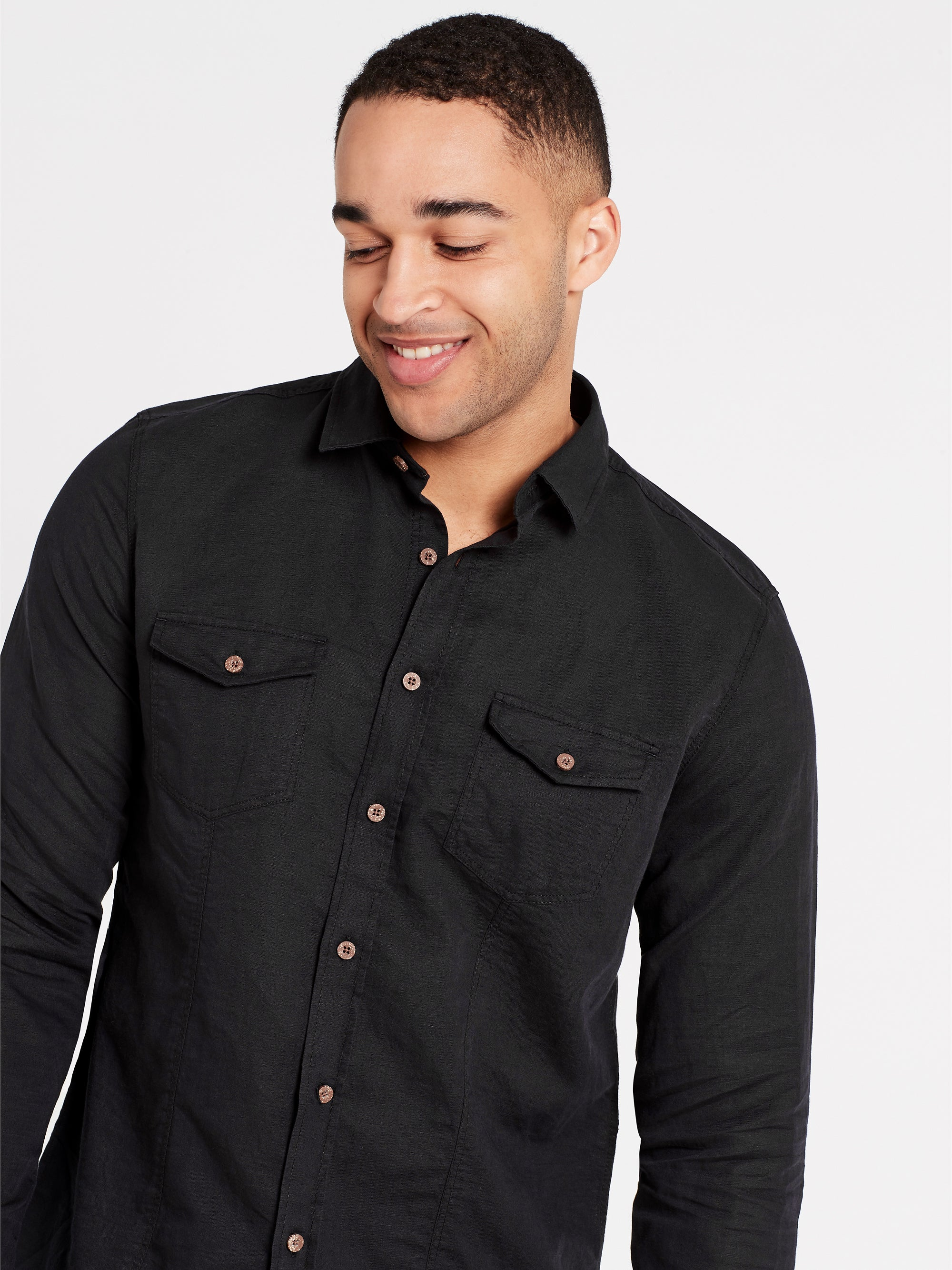 Mens Long Sleeve Shirt Black