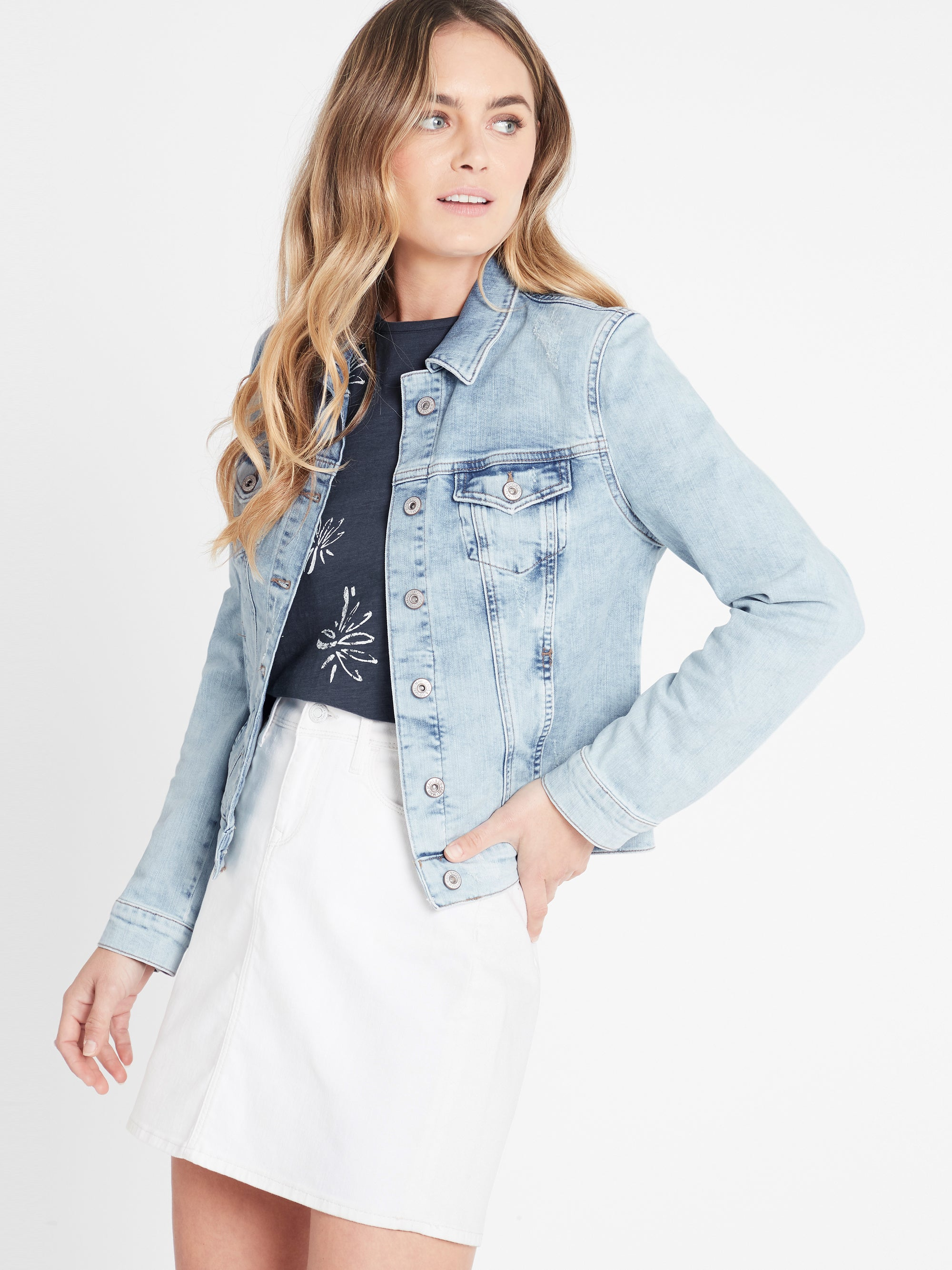 Samantha Crop Denim Jacket in Bleach Vintage